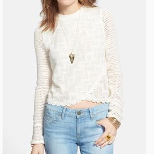 Free people white crop sweater